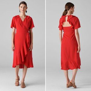 Whistles Abigail Frill Wrap Dress in Red Ruffles 2